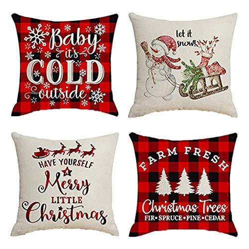 Goosuny 4er Pack Kissenbezug 45X45 cm Weihnachten Dekoration Kissen Bezug Weihnachtskissen Kissenhülle Home Decor Sofakissen Couchkissen Sofa Kissenbezug