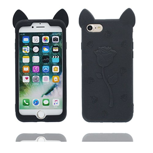 "iPhone 6 Coque, iPhone 6S Étui Cover Housse pour iPhone 6s 4.7 "" [Cartoon 3D Oreilles de porc Rose Cute] Gel TPU Shell iPhone 6 Case (4.7"") Résistant à la poussière Scratch Noir Noir"