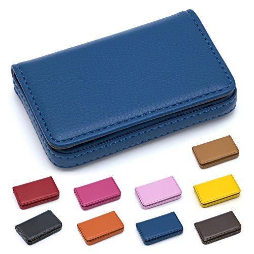 Padike Business Name Card Holder Luxus PU Leder, Business Name Card Halter Wallet Kreditkarte ID Schutzhülle/Halterung für Herren und Damen–Halten Sie Ihre Visitenkarten Reinigen Blau