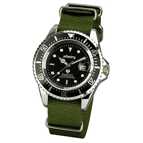 Infantry Herren Analoges Quarzwerk Armbanduhr Datum Kalender Outdoor Silber Schwarz Nylon Nato 20mm Armband