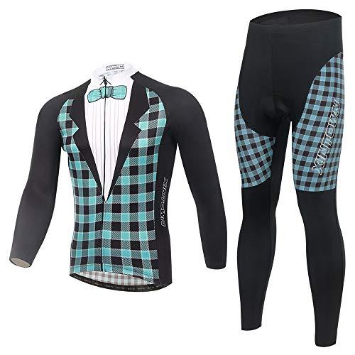 Pinjeer Canonicals Muster Design Quick Dry Männer Radtrikot Kleidung Anzüge für Frühling Herbst Atmungs MTB Reiten Jersey Männer Langarm XXXL Sets (Größe : XXL)