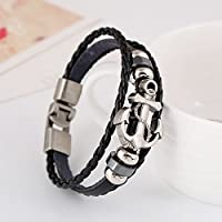 Handmade Retro Multilayer Punk Genuine Leather Bracelet Metal Anchor Bracelets Bangles For Men Male
