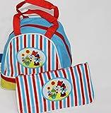 Schöne Umhängetasche, Kindergartentasche, Kindertasche Disney Minnie Mouse in rot/blau inkl. Faulenzeretui (D04)