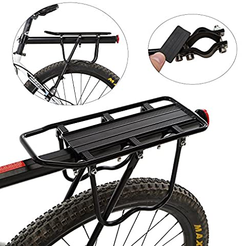 Yahill® Adjustable Universal Bike Rear Rack Quick Release Holder Seatpost, Bicycle Carrier with Max Capacity of 165LB (Black/A type- Partly Quick Release)