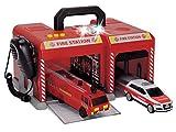 Dickie Toys 203716004401 - S.O.S. Station, Feuerwehrstation mit Feuerwehrauto und Audi Q7 Einsatzfahrzeug