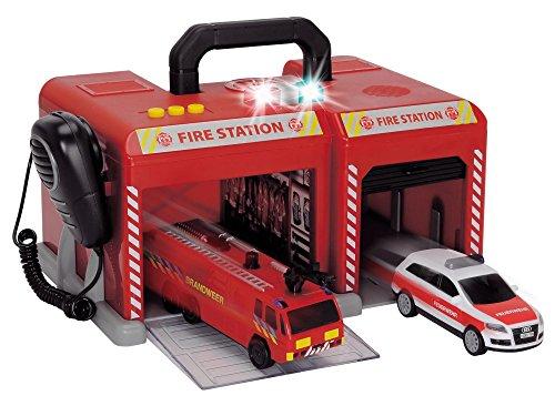 feuerwehrstation dickie Dickie Toys 203716004401 - S.O.S. Station, Feuerwehrstation mit Feuerwehrauto und Audi Q7 Einsatzfahrzeug