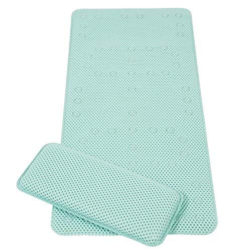 Clevamama Full Length Bath Mat with Kneeling Cushion (Aqua)