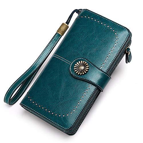 Xinrongqu Damen-Lederhandtasche, Große Kapazitäts-Kupplung Mit 26 Credit Card Slots Zip Leder-Mappe Für Frauen Mit Wrist Straps,Grün,10.2x3.5x19.2cm -