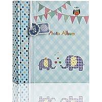 Arpan - Álbum de fotos (tamaño grande, 200 fotos de 15 x 10 cm), diseño de elefantes, color azul