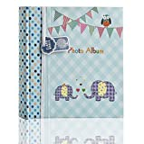 Arpan Large Baby Boy Blue Memo Slip in Photo Album 200 6x4'' Photos - Elephant Kids -Ideal Gift