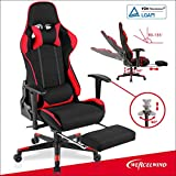mecor Fauteuil de Bureau Chaise de Course Rouge Noir Jeu Gaming Pivotant Massant Chair Repose-Pieds Escamotable Confortable Massage Repos Relax Ordinateur …