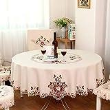 FADFAY Designer-Tischdecke, rund, moderner amerikanischer Country-Stil, Vintage-Design, handgemacht, ideal als Hochzeitstischdecke, Polyester, beige, Size:150cm in diameter,round.