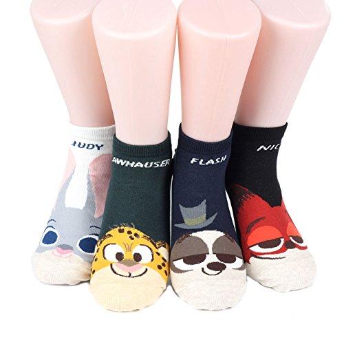 Preisvergleich Produktbild Disney Vitamin Sneakers Women's Socks 4 pairs Made in Korea (JUDY,CLAWHAUSER,FLASH,NICK)