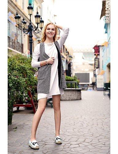 ShangYi gyht Scarpe Donna - Mocassini - Ufficio e lavoro / Casual / Formale - Comoda - Piatto - Finta pelle - Nero / Bianco Black