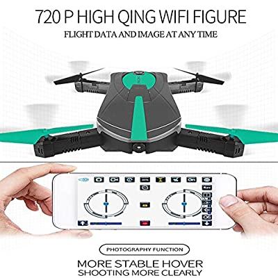 Chengstore Foldable RC Drone with Camera, JY018 2.4G WIFI FPV Quadcopter With 0.3MP Camera HD Live Video Remote Control One Key Return Helicopter Altitude Hold Mode Selfie Pocket RC Helicopter