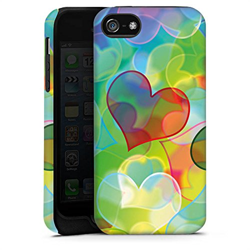 Apple iPhone X Silikon Hülle Case Schutzhülle Love Plexi Bunt Herz Tough Case matt