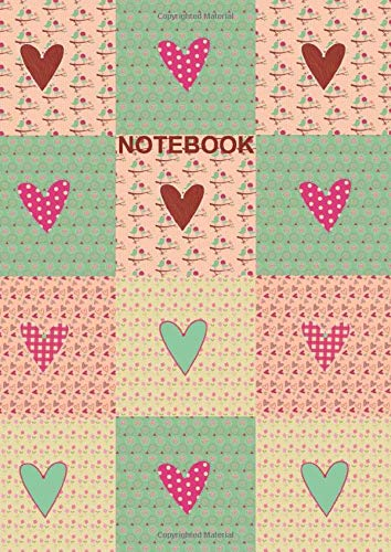 Notebook: A4 Size College Ruled Coral Teal Boho Patchwork Hearts Design Cover - Blank Lined Interior Patchwork Coral
