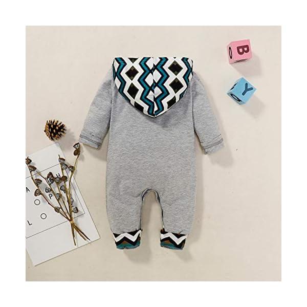 MYONA Bebé Mameluco con Capucha, Mono Bebé de Invierno con Estampado de Dibujo Animado Traje para Bebé Recién Nacido… 2