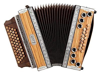 Loib Harmonika IVD Olive G-C-F-B (46 Disantknöpfe, 9 Bässe, 7 Harmonien, Olive Massiv, Nuss Massiv, inkl. Koffer)