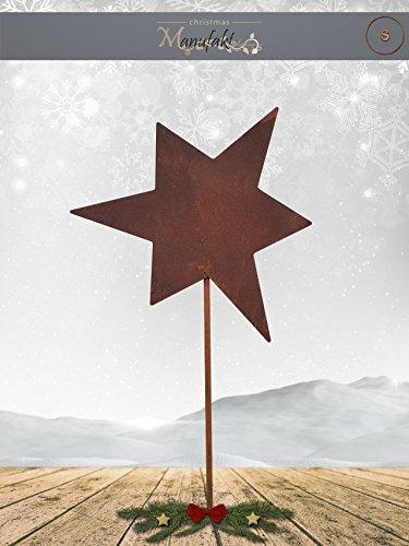 Winter Wohnungen (Edelrost Stern am Stab zum Stecken: Variante B / Größe S: 11cm (Geschlossen Asymmetrisch) - Wunderschöne Metall Weihnachts-Deko. Ideal für Ihren Hauseingang, im Garten auf Ihrer Terrasse oder in der Wohnung - Winter-Deko von Manufakt-Design)