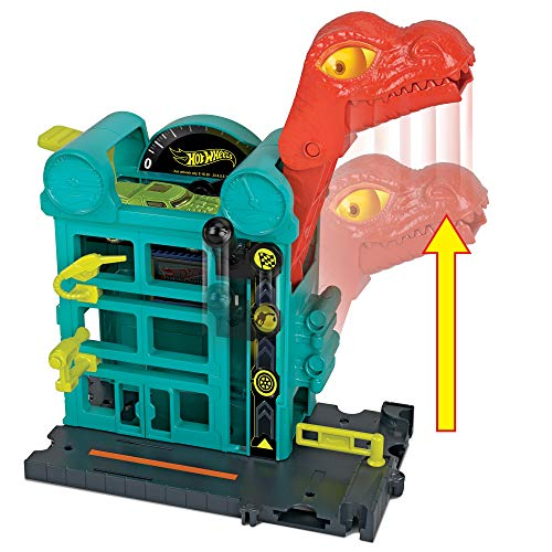 Mattel- Hot Wheels-City Dino-Ataque al Garaje, Parking Juguetes Coches niños +4 años GBF91