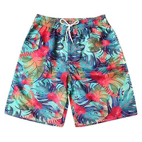 Dragon868 Costume da Bagno Uomo Pantaloncini Uomo metà Vita Elastico Beachwear Stampa Brasiliana Foglie Colorati Taglie Forti 4XL Estive