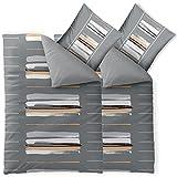 aqua-textil Trend Hanaa Bettwäsche 4 teilig 135x200 Baumwolle atmungsaktiver weicher Bettbezug Kissen Streifen Uni natur grau anthrazit beige 0011764