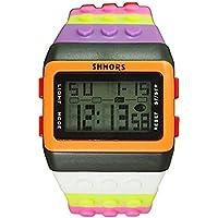 v_esafe Unisex Jungen mädchen LED Regenbogen elektronische sportuhren multifunktionale silikonband armbanduhren Student Geschenk (H)