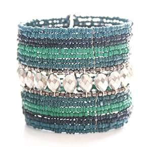 Marc Labat - 13E168 - Ethnic Chic - Bracelet Manchette Femme - Métal argenté - Verre - Perle - 6 cm