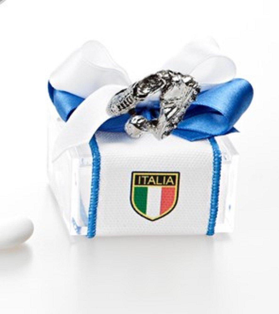 Bomboniera con confetti, Comunione Scarpette Calcio argentate con calamita Scatola Plexiglass con c