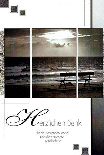Trauer Danksagungskarten Trauerkarten ohne Innentext Motiv Bank am Meer 10 Klappkarten Dankeskarten Dankeschön Karten Danke sagen (K/H31)