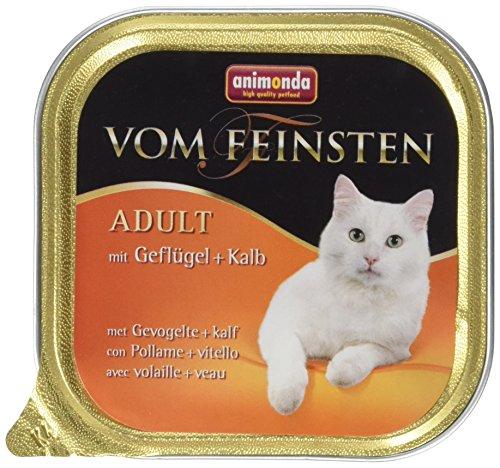 Animonda Feinsten Katzenfutter Adult mit Geflügel + Kalb, 32er Pack (32 x 100 - Kälber Gewichte Für