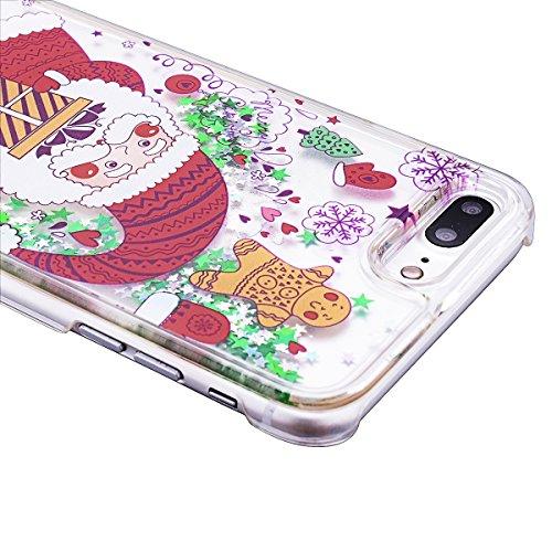 GrandEver Hart Handyhülle für iPhone 7 Plus Tasche Durchsichtig Hülle Flüssiges Case Fließen Flüssig Bling Schwimmend Treibsand Ultra Dünnen Glitzer Glänzend Schutzhülle Bling Transparent Hardcase Kra Weihnachtsmann