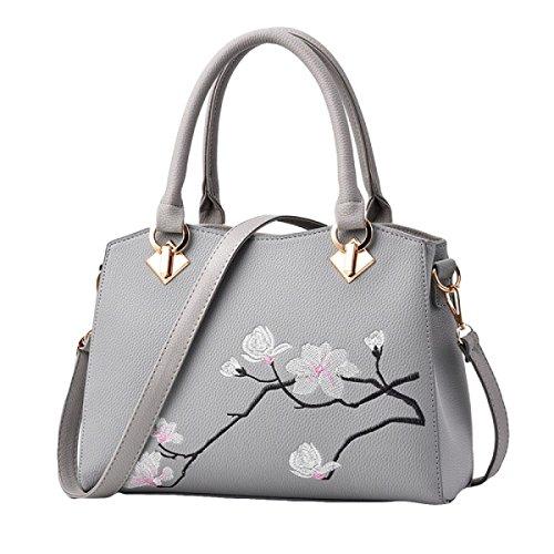 Mode Druck Blumen Schultertasche Messenger Tasche Handtasche Handtaschen Freizeit Wild Grey
