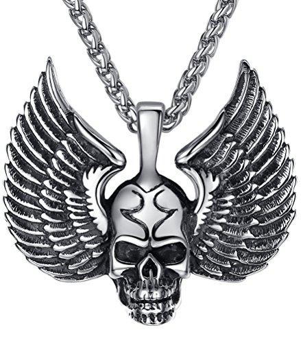 Aoiy - Collar con colgante de hombre de acero inoxidable, del ala del cráneo gótico, cadena de 61cm, aap026