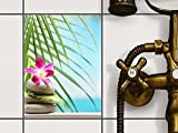 creatisto Mosaikfliesen Dekorsticker | Fliesen Aufkleber Folie Sticker selbstklebend Küche renovieren Bad Wandtattoo | 15x20 cm Design Motiv Lotus Flower - 1 Stück