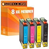 Gorilla-Ink® 8 Tinten-Patronen XXL kompatibel für Epson GI1291-GI1294 Workforce WF 3010 DW WF 3520 WF 3520 DWF WF 3530 WF