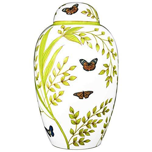 M MEILINXU Bestattung Urne Adult Ashe - Urne für Asche, Große Erwachsene Hand gefertigt in Messing Hand gemalte - Belichtungs -Urne Zu Hause oder in Niche in Columbarium (Schmetterlinge Weiß
