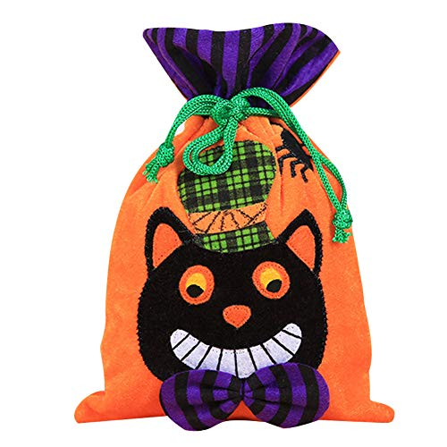 Tasche mit Kordelzug Kinder Mini Süßigkeiten Geschenke Taschen Handtaschen für Halloween oder Kostüm Party (Schwarze Katze) ()