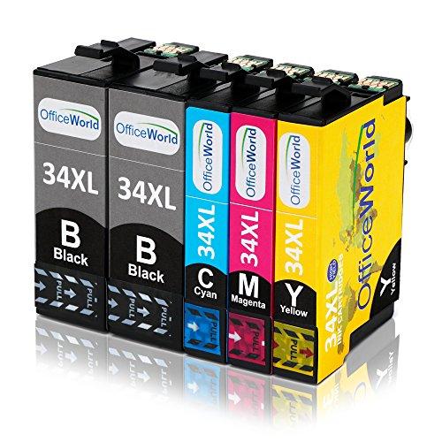 Cyan Ersatz-druckerpatrone (OfficeWorld Ersatz für Epson 34 34XL Druckerpatronen Hohe Kapazität Kompatibel mit Epson Workforce Pro WF-3720DWF WF-3725DWF (2 Schwarz, 1 Cyan, 1 Magenta, 1 Gelb))
