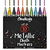 Metallic Chalk Pens - Pack of 10 Chalk Markers - for Chalkboard, Whiteboard, Blackboard, Window, Labels, Bistro, Glass - Wet Wipe Erasable - 6mm Reversible Bullet & Chisel Tip