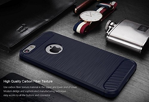 Custodia Armor con Copertura Morbida di Silicone case cover per iPhone SE / 5S / 5 (red) Blue