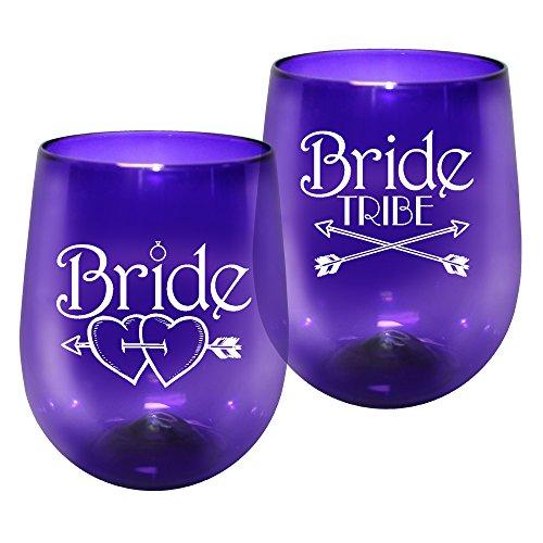 - 12oz Kunststoff ohne Stiel Wein Glas-Braut Tribe Print für Bachelorettes, Set von 12-Bruchsichere Tumbler, durchscheinend violett