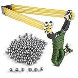 Sports Funshop Set Profi Steinschleuder aus Stahl und Gummiband + 100 Stahlkugeln Munition