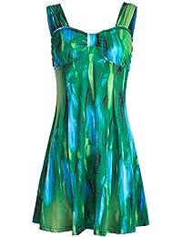 Fancyku Women's Sexy Floral Print Dress Boho Summer Mini Dress