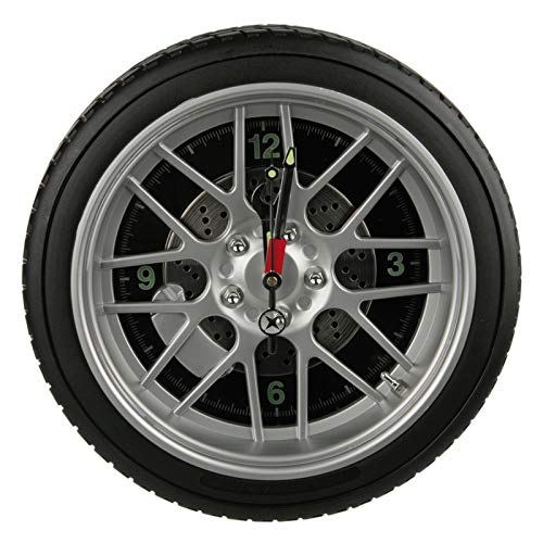 Preis am Stiel Wanduhr ''Reifen'' mit 16 LED | Felgen Uhr | mit Beleuchtung | Wanduhr modern | Groß | Geschenk für Männer | Wand Deko | Wohnzimmer