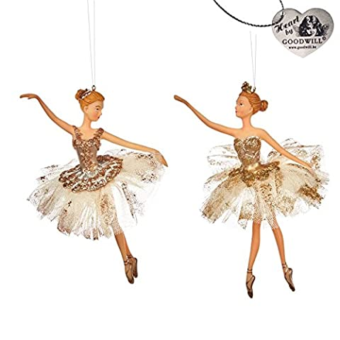 Goodwill: Ballerinas Cream & Gold, Hanging Christmas Decoration set of 2 - New for Christmas 2016