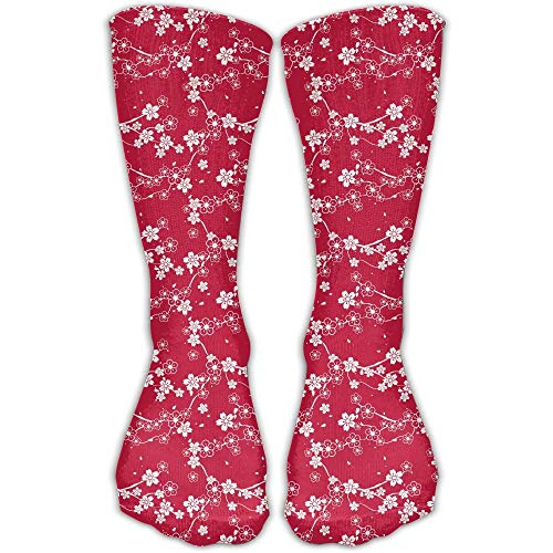 sexy world Plum Cherry Blossom Red Pattern Good Luck Sock Unisex Good For Gift Idea 19.7 inch Cherry Blossom Cast