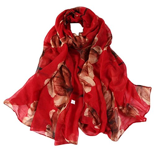- 51Jend3DNWL - Scarves,Tefamore Fashion Women Long Soft Wrap scarf Ladies Shawl Voile Scarf (Red)