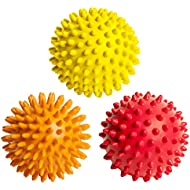 FitNext Spiky Massage Balls Feet, Back, Neck, Hands - 3 Spiked Body Massager Rollers for Plantar Fasciitis, Foot Fascia, Spikey Muscle Acu-Pressure Therapy, Exercise, Yoga - Hard, Medium, Soft Spikes
